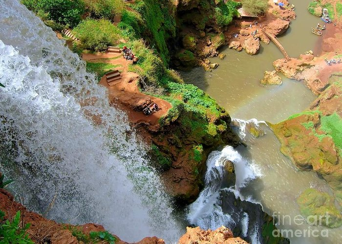 Morocco Greeting Card featuring the photograph Ouzoud Falls Morocco by Sophie Vigneault