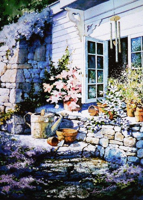 Over Sleepy Garden Walls Greeting Card featuring the painting Over Sleepy Garden Walls by Hanne Lore Koehler