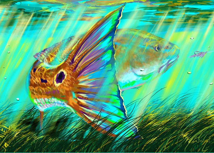 Swordfish Digital Art Greeting Cards