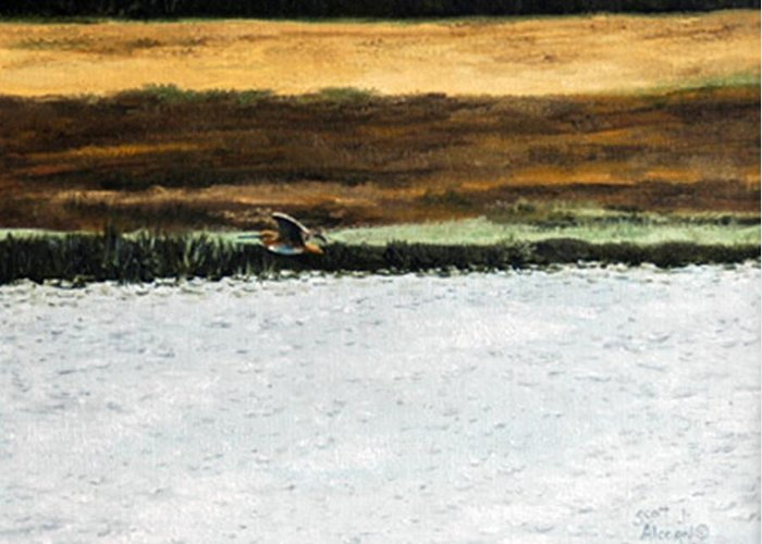 Wildlife Greeting Card featuring the painting Over The Marsh by Scott Alcorn