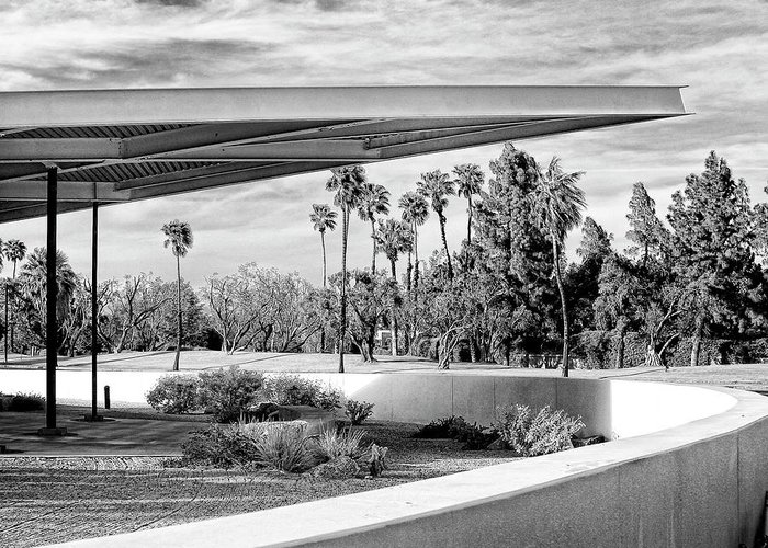 Palm Springs Greeting Card featuring the photograph Overhang Bw Palm Springs by William Dey