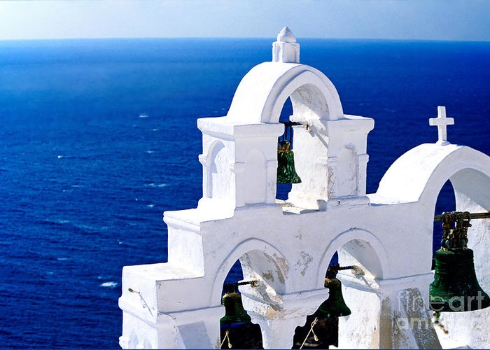 Santorini Greeting Card featuring the photograph Overlooking Aegean by Aiolos Greek Collections