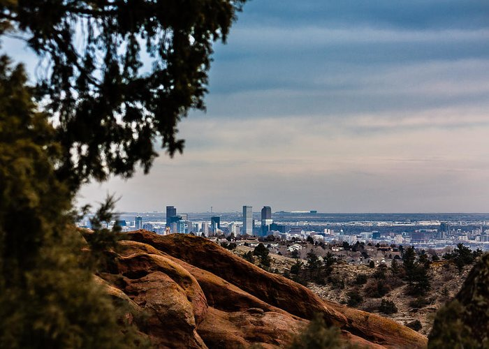 Colorado Greeting Card featuring the photograph Overlooking Denver by Karen Saunders