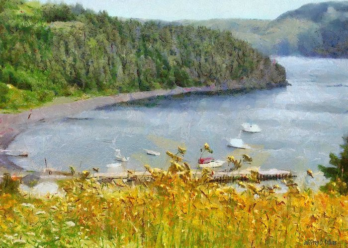 Canadian Greeting Card featuring the painting Overlooking the Harbor by Jeffrey Kolker