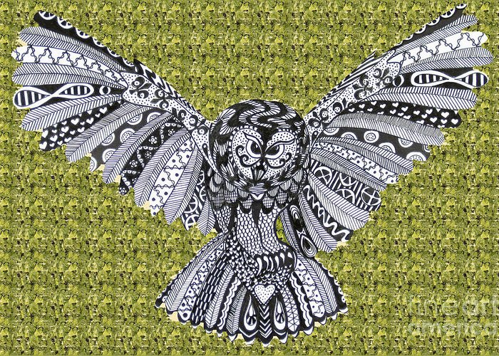 Edinburgh Festival Greeting Card featuring the drawing Owl In Flight Green by Karen Larter