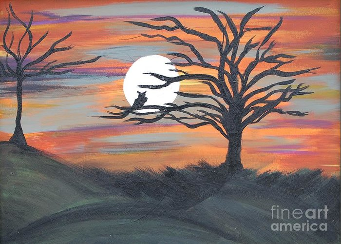 Abstract Greeting Card featuring the painting Owl In Moon by Laura Webb