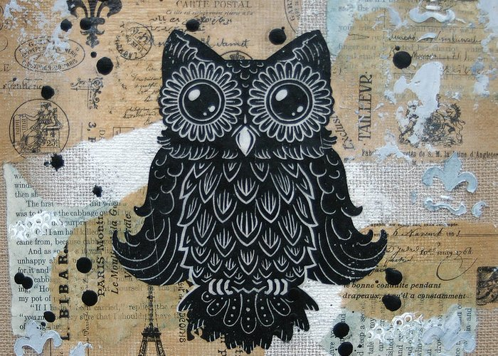 Owl. Hoot Greeting Card featuring the painting Owl On Burlap1 by Kyle Wood