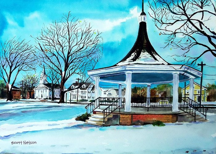 Oxford. Oxford Ma. Massachusetts Greeting Card featuring the painting Oxford Bandstand by Scott Nelson