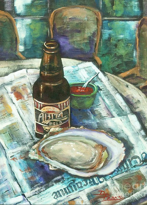 Oyster Greeting Card featuring the painting Oyster And Amber by Dianne Parks