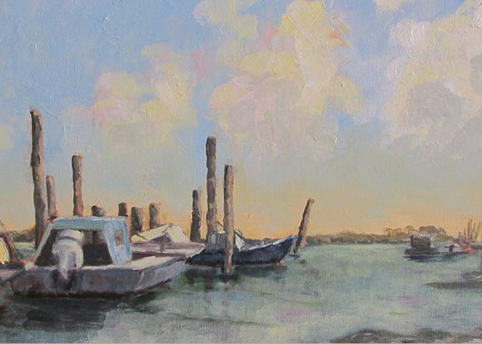 Apalachicola Bay Greeting Card featuring the painting Oyster Boat Evening by Susan Richardson
