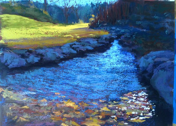 Water Greeting Card featuring the pastel Ozark Autumn by Sandra Ortega