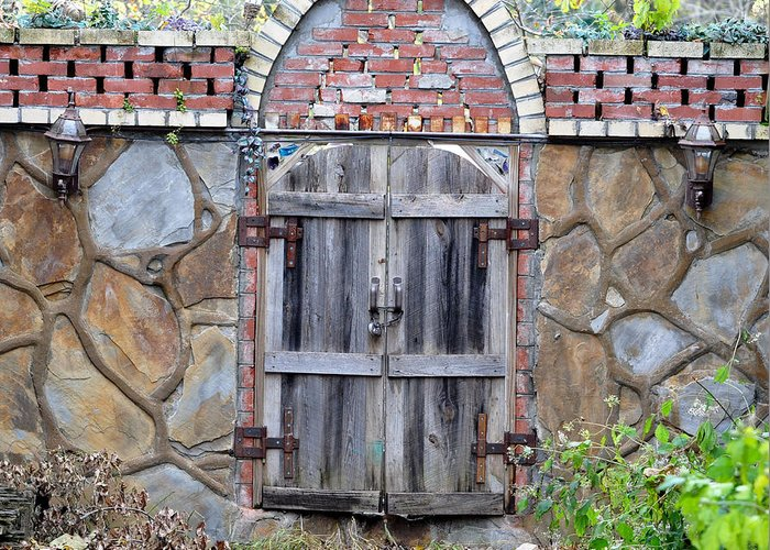 Architectural Greeting Card featuring the photograph Ozark Gate by Jan Amiss Photography
