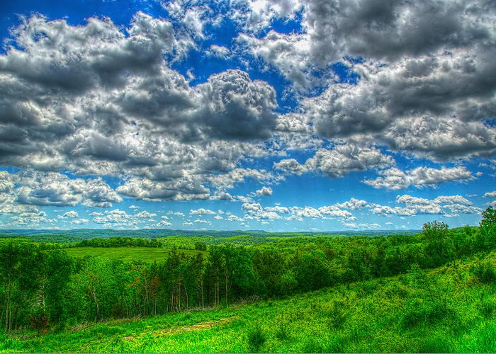 Landscape Greeting Card featuring the photograph Ozark Pasture #3 by John Derby