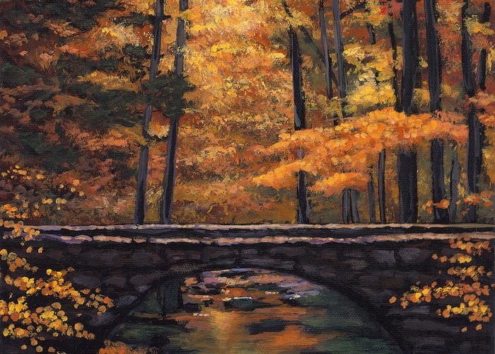 Landscape Greeting Card featuring the painting Ozark Stream by Johnathan Harris