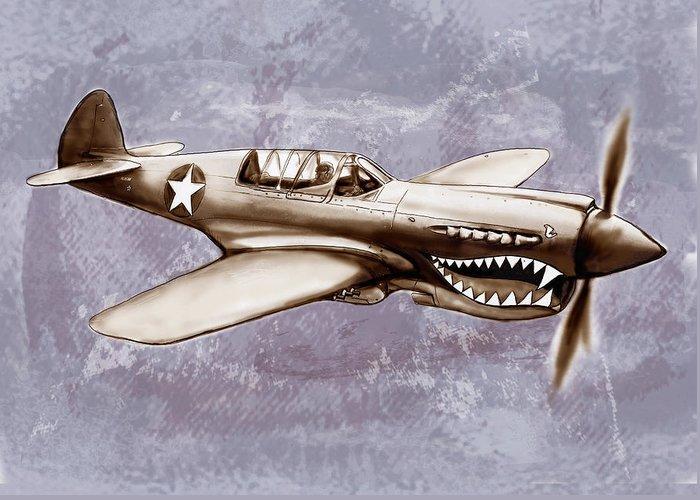 P 40 N Warhawk Airplane In World War 2 Stylised Modern Drawing Art