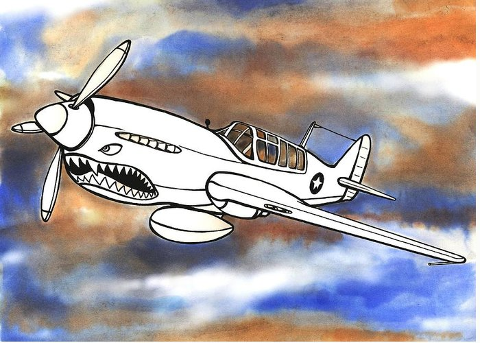 Warhawk Greeting Card featuring the mixed media P-40 Warhawk 1 by Scott Nelson
