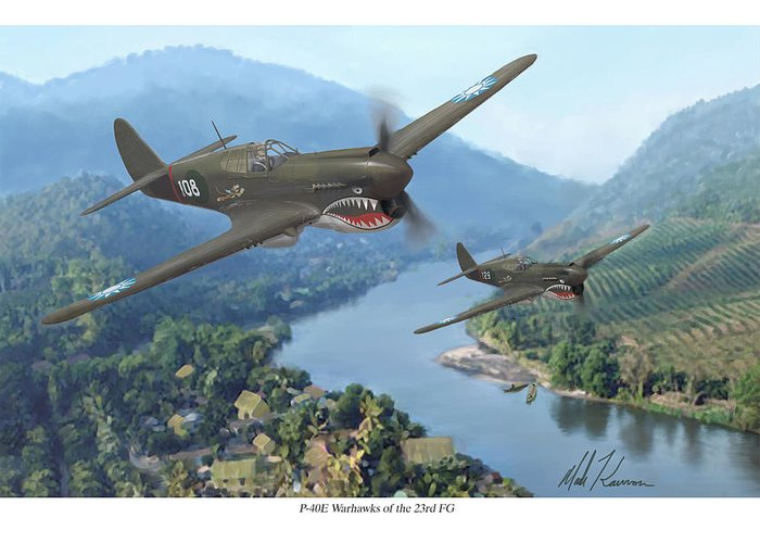 Airplanes Greeting Card featuring the painting P-40 Warhawks Of The 23rd Fg by Mark Karvon
