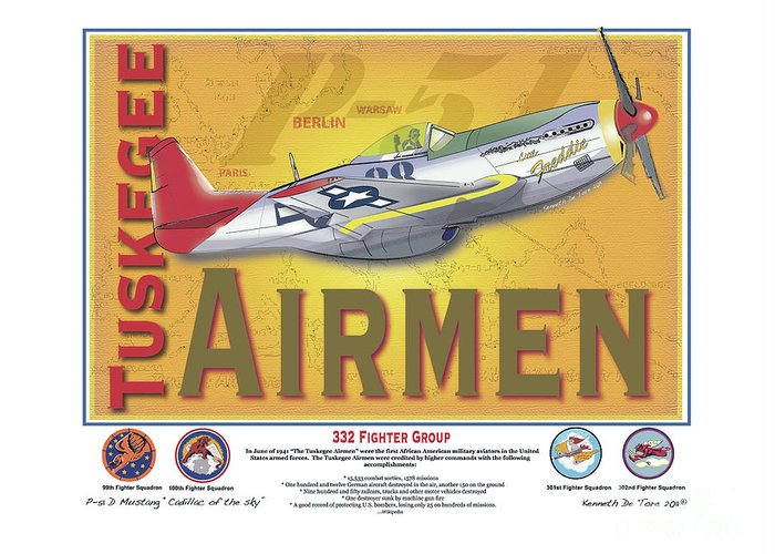 Tuskegee Greeting Card featuring the digital art P-51 D Tuskegee Airmen by Kenneth De Tore