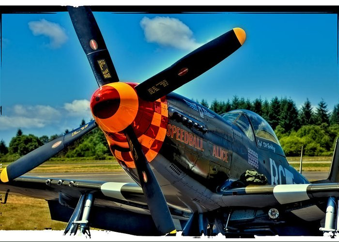 P-51 Speedball Alice Mustang Greeting Card featuring the photograph P-51 Mustang by David Patterson
