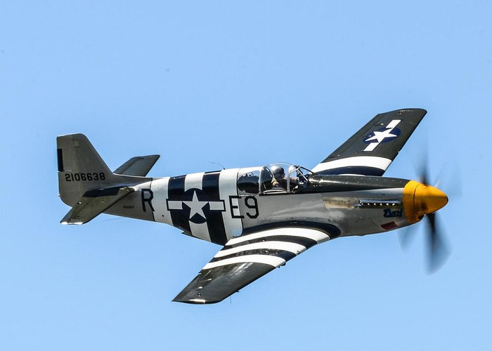 Mustang Greeting Card featuring the photograph P-51 Mustang Fighter by Puget Exposure