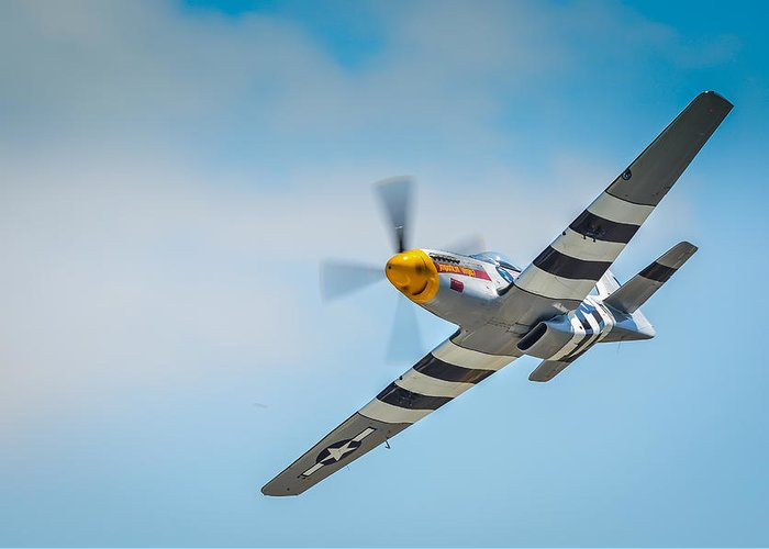 P51 Photographs Greeting Card featuring the photograph P-51 Mustang Low Pass by Puget Exposure