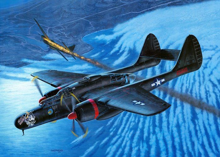 P-61 Greeting Card featuring the painting P-61 Black Widow Caught In The Web by Stu Shepherd