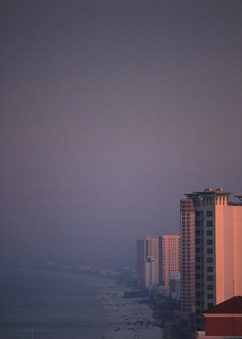 Pink Greeting Card featuring the photograph Panama City Beach In The Morning Mist by Jennifer E Doll
