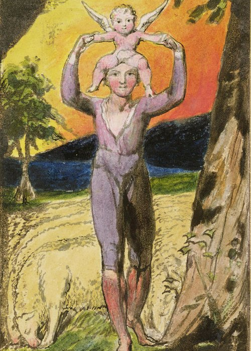 Shepherd Greeting Card featuring the painting P.124-1950.pt29 Frontispiece To Songs by William Blake