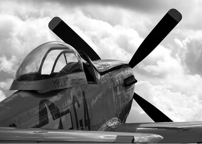 P51 Greeting Card featuring the photograph P51 In Clouds by Remy NININ