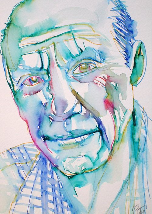 Pablo Greeting Card featuring the drawing Pablo Picasso- Portrait by Fabrizio Cassetta