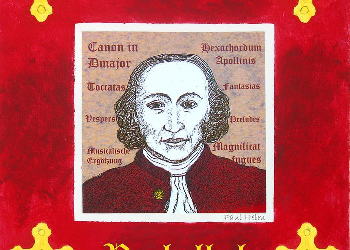 Pachelbel Greeting Card featuring the drawing Pachelbel by Paul Helm
