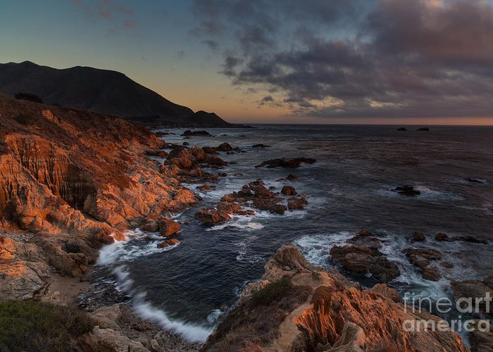 Soberanes Greeting Card featuring the photograph Pacific Coast Golden Light by Mike Reid