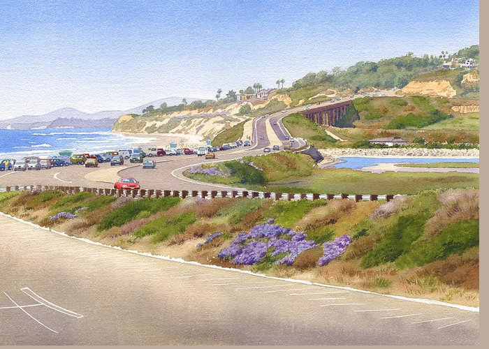 Pacific Coast Greeting Card featuring the painting Pacific Coast Hwy Del Mar by Mary Helmreich