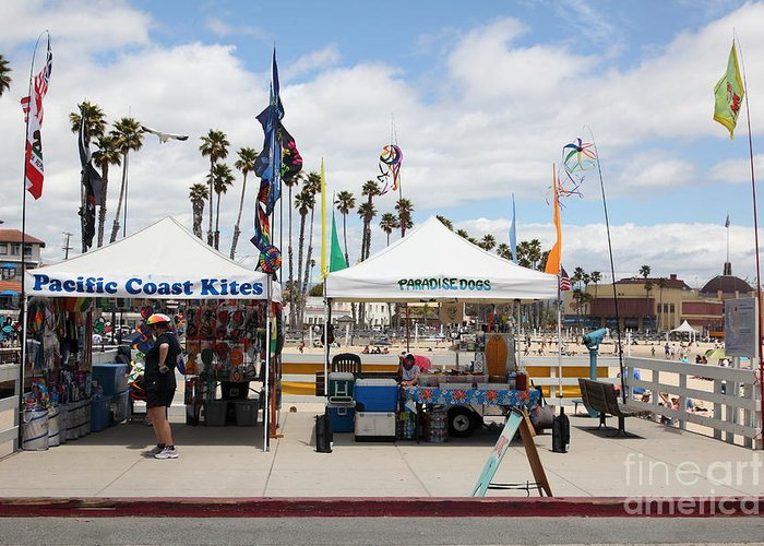 California Greeting Card featuring the photograph Pacific Coast Kites And Paradise Dogs On The Municipal Wharf At The Santa Cruz Beach Boardwalk Calif by Wingsdomain Art and Photography