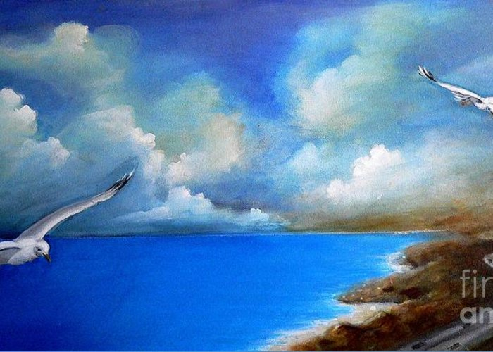 Acrylics Greeting Card featuring the painting Pacific Highway 1 by - Artificium -