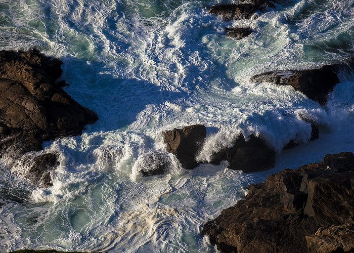 Gorgeous Greeting Card featuring the photograph Pacific Ocean Against Rocks by Garry Gay