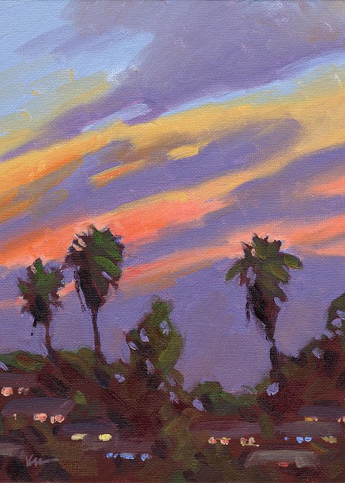 Sunset Greeting Card featuring the painting Pacific Sunset 1 by Konnie Kim