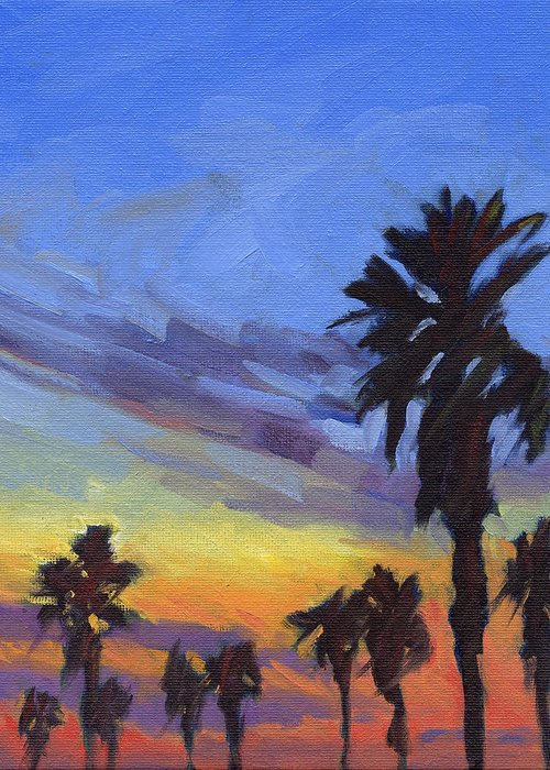 Sunset Greeting Card featuring the painting Pacific Sunset 2 by Konnie Kim