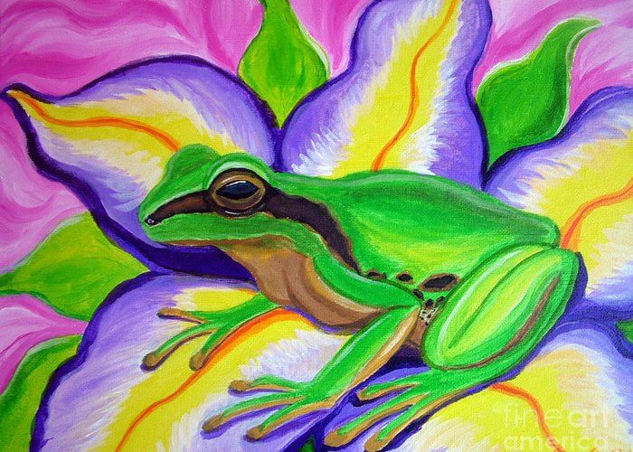 Pacific Tree Frog Greeting Card featuring the painting Pacific Tree Frog And Flower by Nick Gustafson