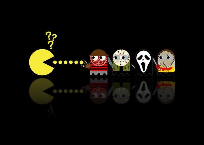 Pacman Greeting Card featuring the digital art Pacman Horror Movie Heroes by NicoWriter