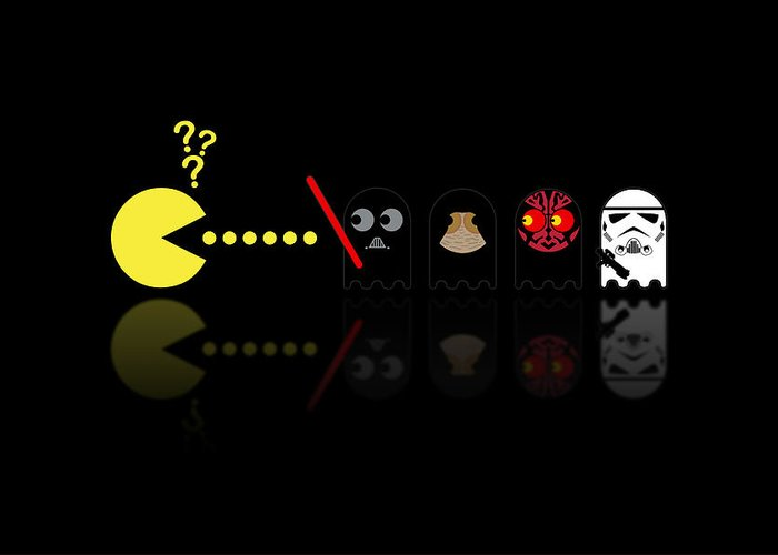 Pacman Greeting Card featuring the digital art Pacman Star Wars - 2 by NicoWriter