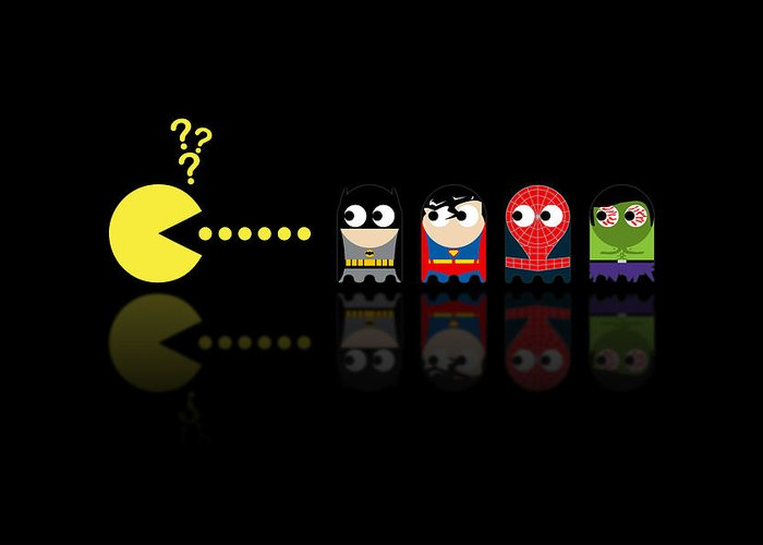 Pacman Greeting Card featuring the digital art Pacman Superheroes by NicoWriter