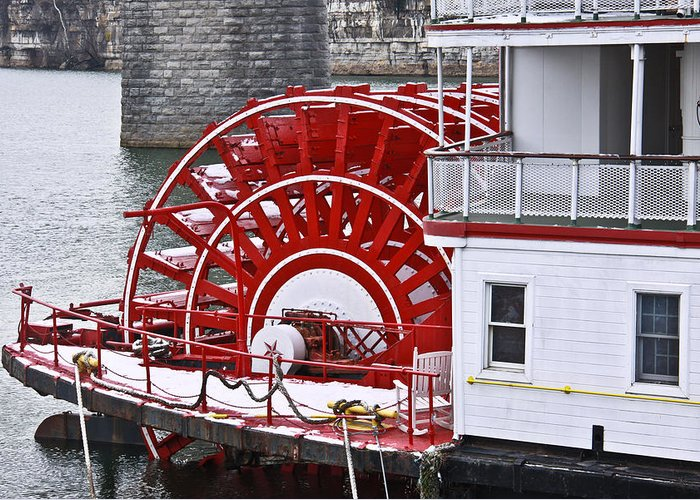 Delta Queen Greeting Card featuring the photograph Paddle Wheel by Tom and Pat Cory