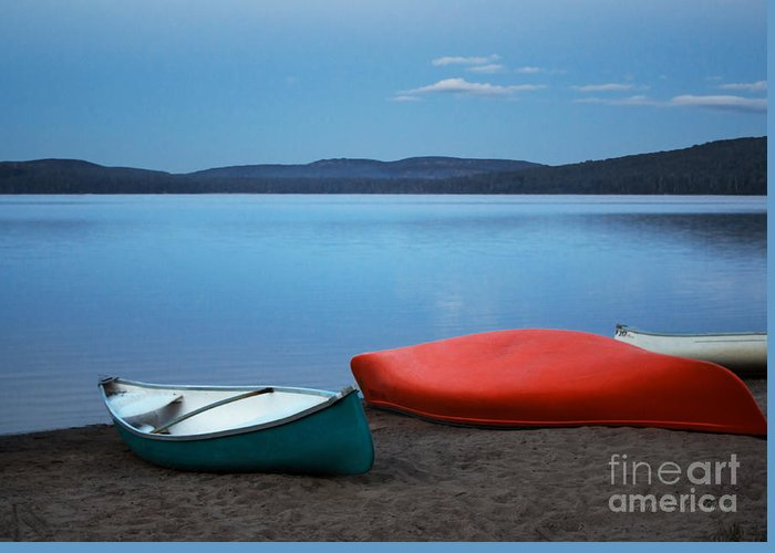 Canoe Greeting Card featuring the photograph Paddle's End by Barbara McMahon