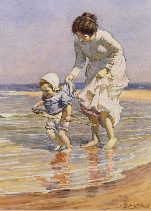 Beach Greeting Card featuring the painting Paddling by William Kay Blacklock