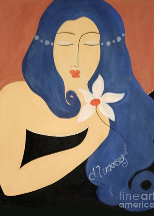 #female Greeting Card featuring the painting Page by Jacquelinemari