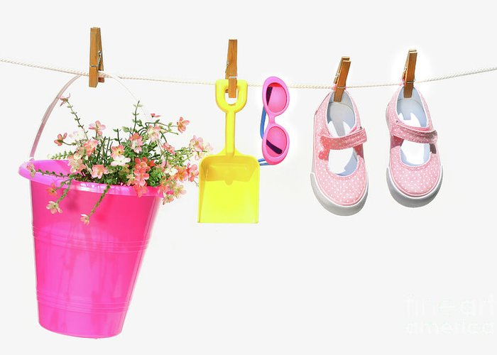 Air Greeting Card featuring the photograph Pail And Shoes On White by Sandra Cunningham