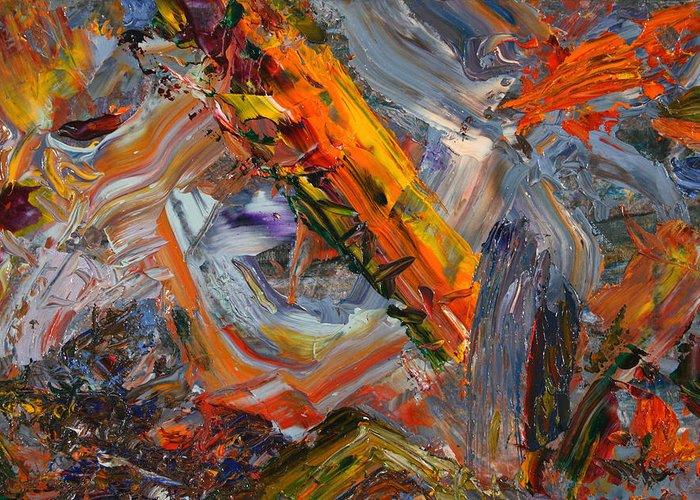 Abstract Greeting Card featuring the painting Paint Number 44 by James W Johnson