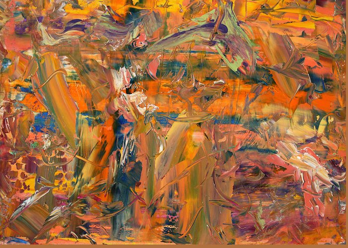 Abstract Greeting Card featuring the painting Paint Number 45 by James W Johnson