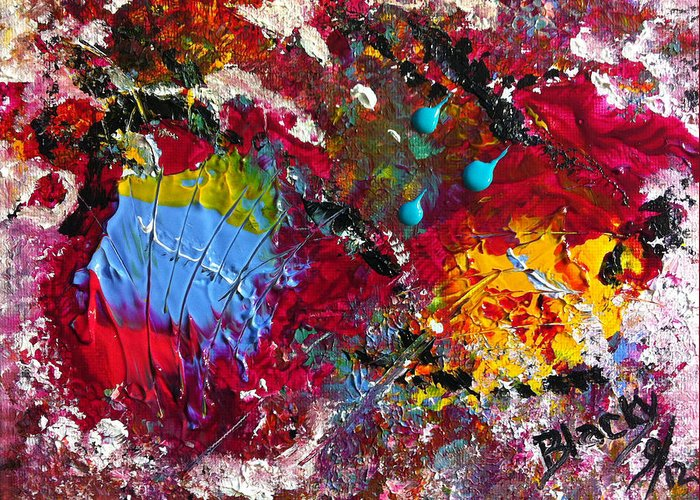 Bold Abstract Greeting Card featuring the painting Paint Party by Donna Blackhall